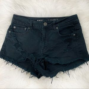 AEO High Rise Shortie Black Distressed Shorts 4